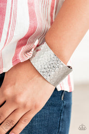 Paparazzi Simmering Shimmer Silver Bracelet Fashion Fix Exclusive Cuff - Glitzygals5dollarbling Paparazzi Boutique