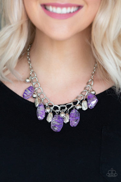 Paparazzi Chroma Drama - Purple - Shiny Metallic Accents - Double Linked Silver Chain Necklace & Earrings - Glitzygals5dollarbling Paparazzi Boutique
