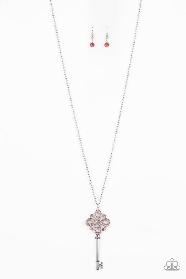 Paparazzi Unlocked Pink Key Necklace Life of the Party May 2020 Exclusive - Glitzygals5dollarbling Paparazzi Boutique