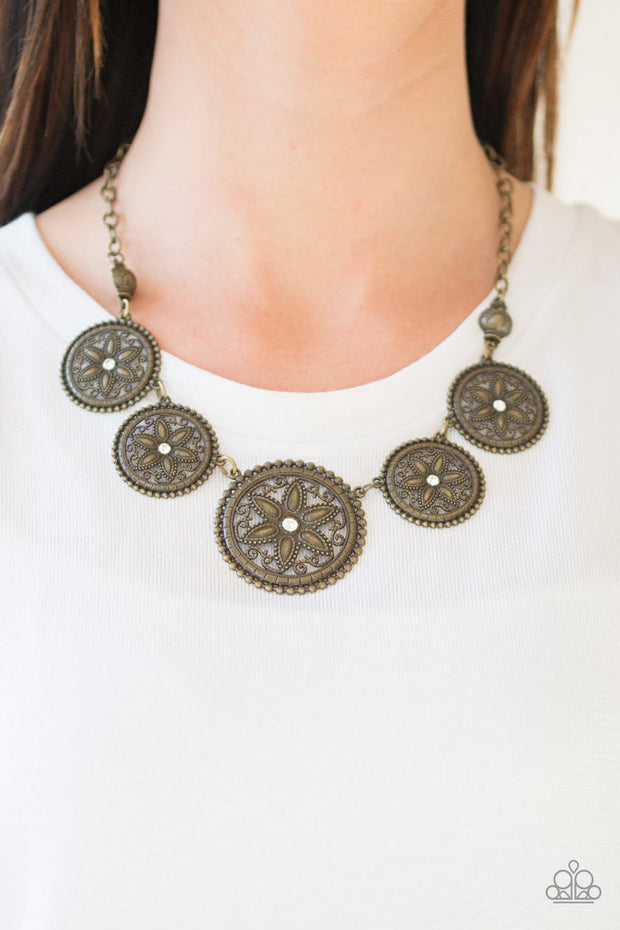 Paparazzi Written In The STAR LILIES - Brass - Sand Dollar - Necklace and matching Earrings - Glitzygals5dollarbling Paparazzi Boutique