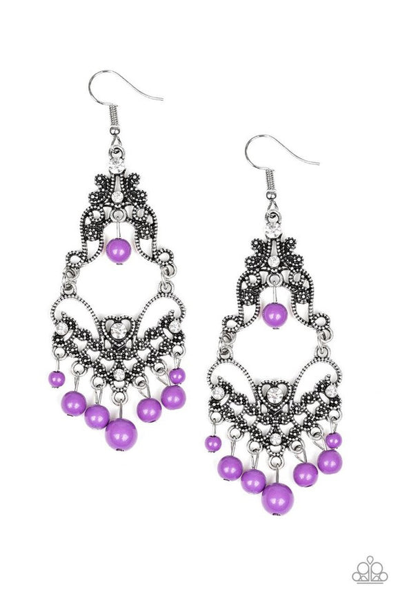 Colorfully Cabaret - purple - Paparazzi earrings
