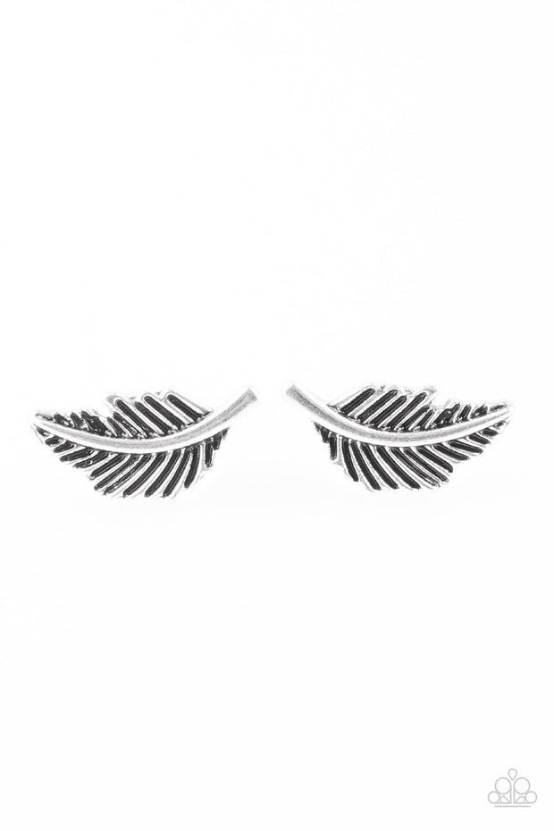 Flying Feathers Silver Post Earrings - Glitzygals5dollarbling Paparazzi Boutique