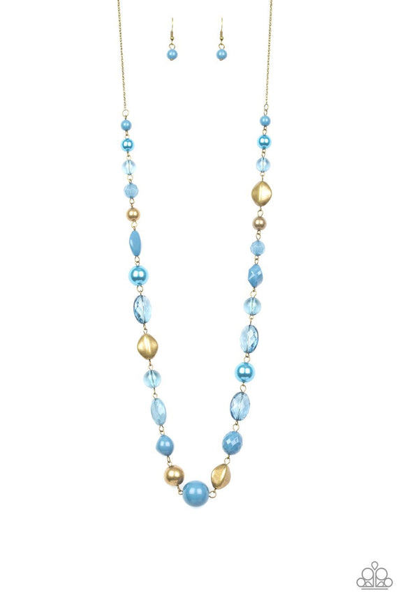 Paparazzi Secret Treasure - Blue - Antiqued Brass Beads - Necklace and matching Earrings