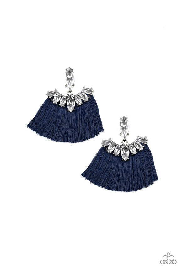 Paparazzi Formal Flair - Blue - Thread / Fringe - Rhinestones - Post Earrings