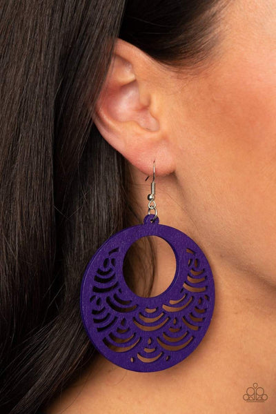 Paparazzi Accessories: SEA Le Vie! - Purple Wooden Earrings - Glitzygals5dollarbling Paparazzi Boutique