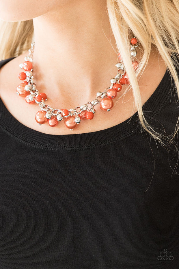 Paparazzi The Upstater – Orange Pearl Silver Bead Necklace - Glitzygals5dollarbling Paparazzi Boutique