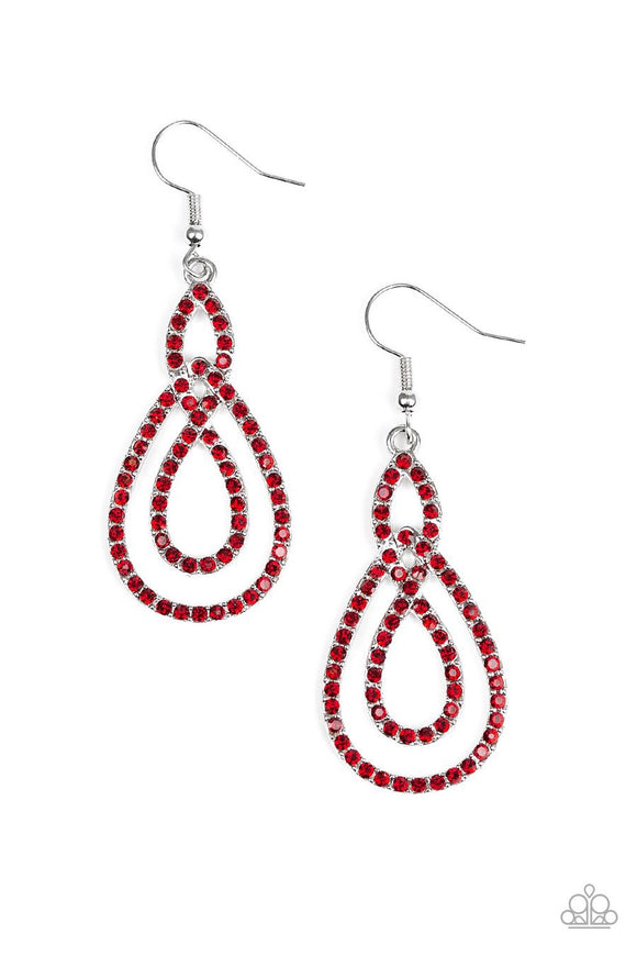 Paparazzi Sassy Sophistication - Red Rhinestones - Silver Loop - Earrings