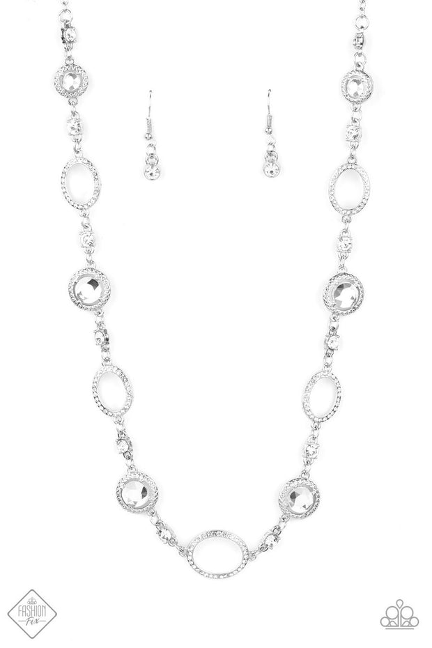Pushing Your LUXE - white - Paparazzi necklace Fashion Fix Exclusive - Glitzygals5dollarbling Paparazzi Boutique