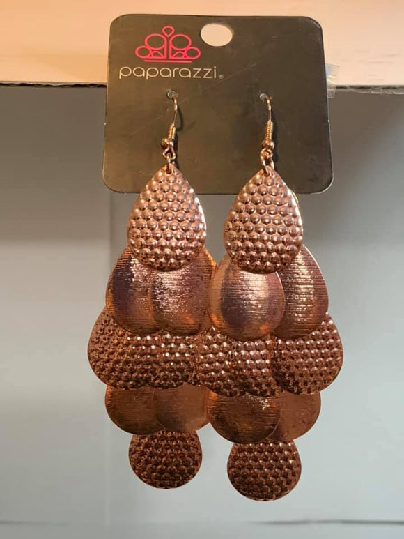 Paparazzi Chime Time Copper Exclusive Earrings
