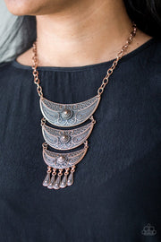 Paparazzi Go STEER-Crazy - Copper - Bold Pendant - Necklace & Earrings