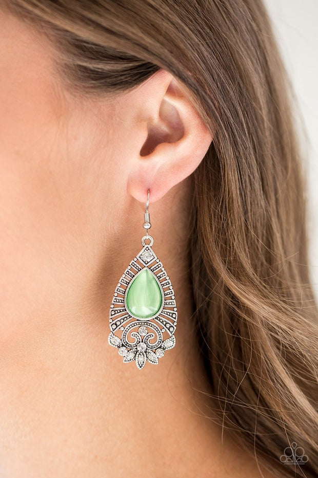 Paparazzi Majestically Malibu - Green Moonstone - Silver Earrings