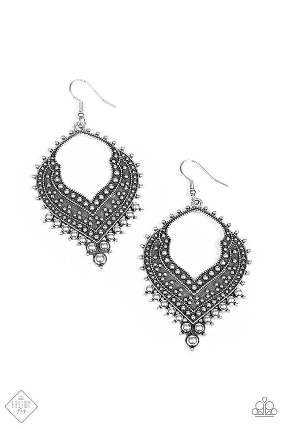 Paparazzi Mojave Melody - Silver - Intricate Textures - Earrings - Fashion Fix Exclusive November 2019