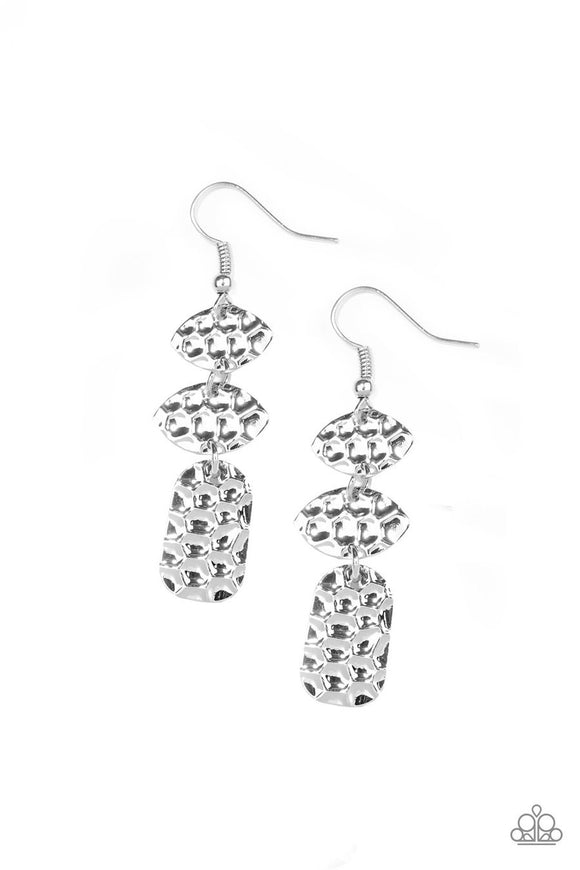 Paparazzi Nine to HIVE - Silver - Embossed Bee Hive Textures - Silver Earrings