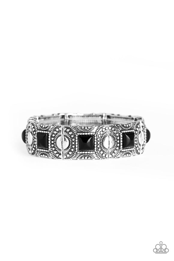 Paparazzi Tribal Trailblazer - Black Beaded Centers - Silver Frame Stretchy Band Bracelet