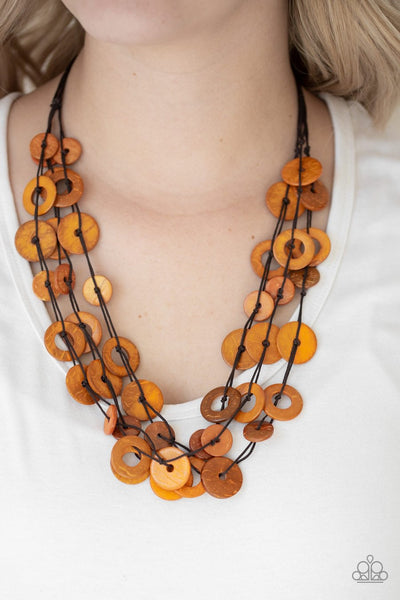 Paparazzi Wonderfully Walla Walla - Orange Wooden Necklace and matching Earrings