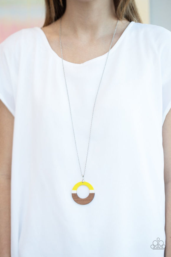 Paparazzi Accessories - Sail Into The Sunset - Yellow & Silver Necklace
