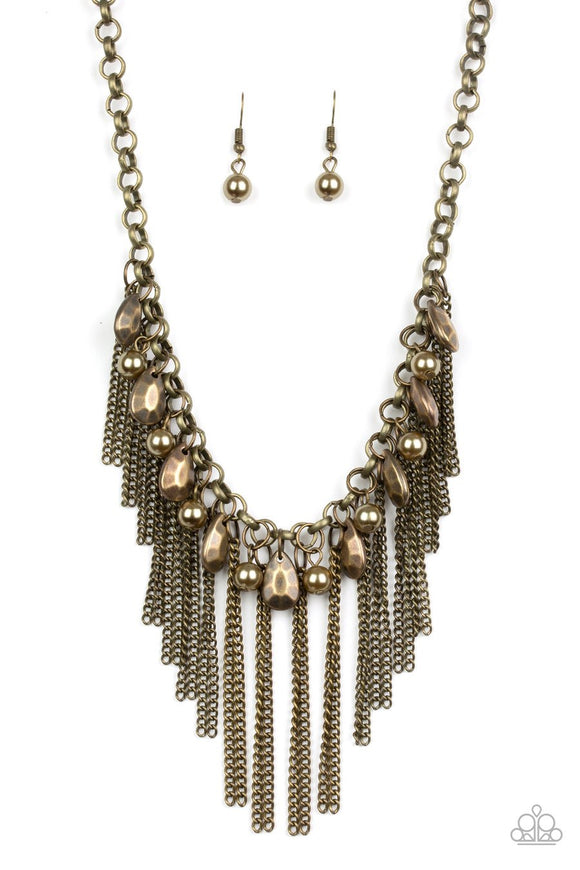 Paparazzi Industrial Intensity - Brass - Teardrops and Pearly Brass Beads - Necklace and matching Earrings