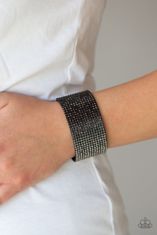 Paparazzi Fade Out Black Rhinestones Urban Bracelet - Glitzygals5dollarbling Paparazzi Boutique