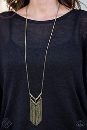 Alpha Glam Brass Necklace Fashion Fix Exclusive - Glitzygals5dollarbling Paparazzi Boutique