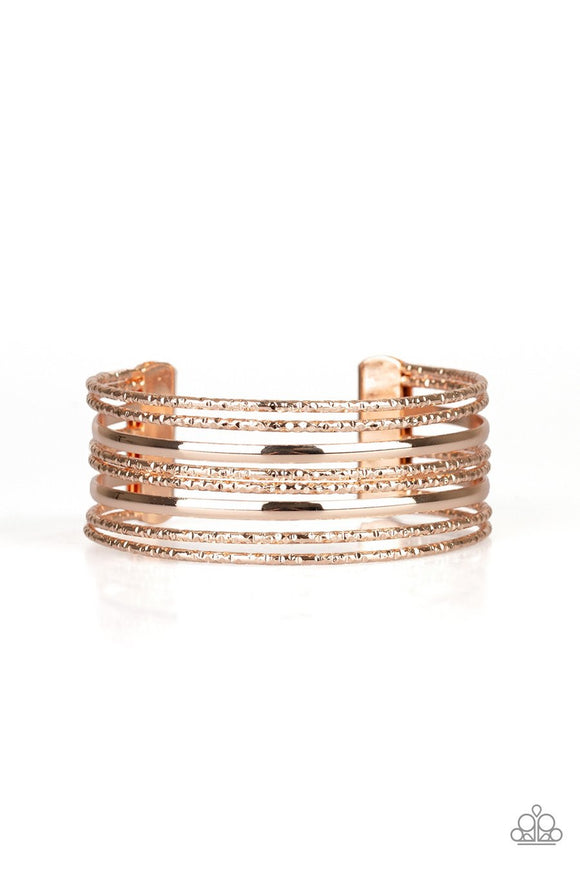 Paparazzi Stack Shack - Rose Gold - Diamond Cut - Cuff Bracelet