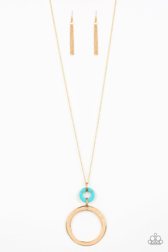 Paparazzi Optical Illusion - Gold - Turquoise Stone - Gold Chain / Hoop - Necklace and matching Earrings