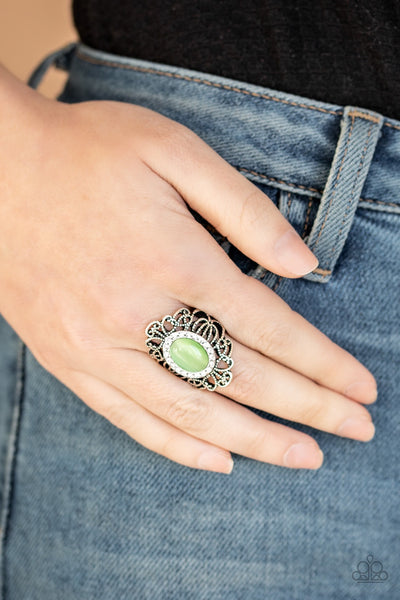 Paparazzi Dashingly Dewy - Green Cats Eye Ring