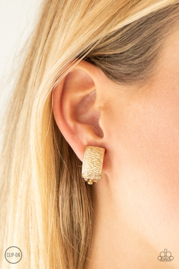 Paparazzi Cirque Du Couture - Gold - Rippling Textures - Clip On Earrings
