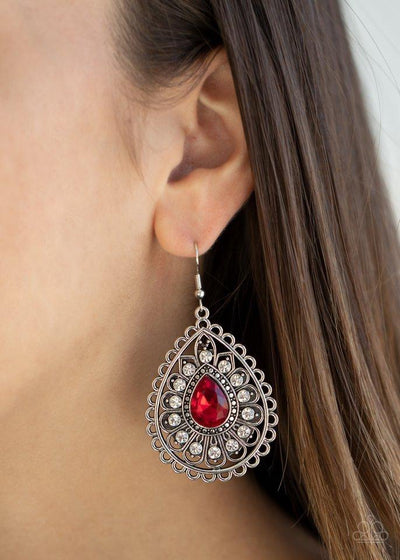 Paparazzi Earring ~ Eat, Drink, and BEAM Merry - Red - Glitzygals5dollarbling Paparazzi Boutique