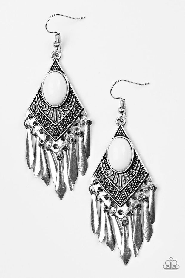 "Paparazzi ""Mostly Monte-ZUMBA"" White Earrings - Glitzygals5dollarbling Paparazzi Boutique"