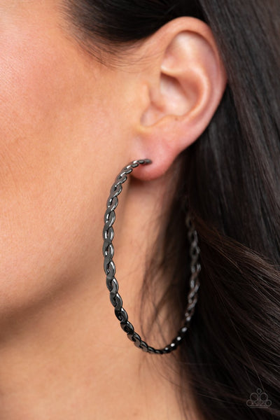 Infinite Twist - black - Paparazzi earrings - Glitzygals5dollarbling Paparazzi Boutique