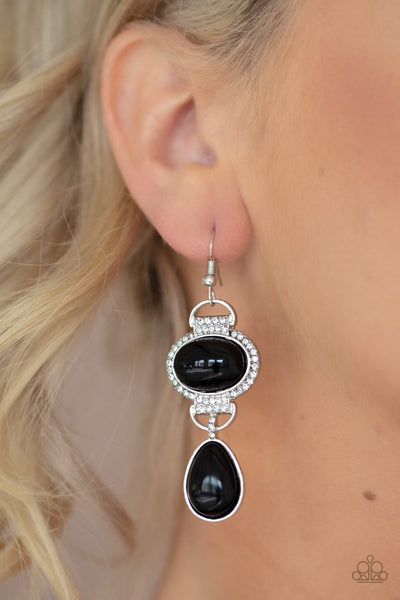 Icy Shimmer Black Paparazzi Earrings