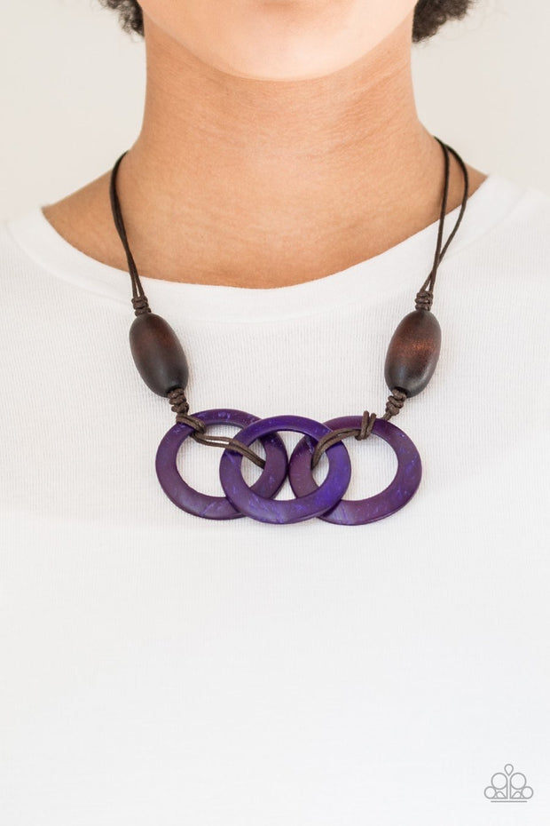 Paparazzi Bahama Drama - Purple - Wooden Necklace and matching Earrings - Glitzygals5dollarbling Paparazzi Boutique