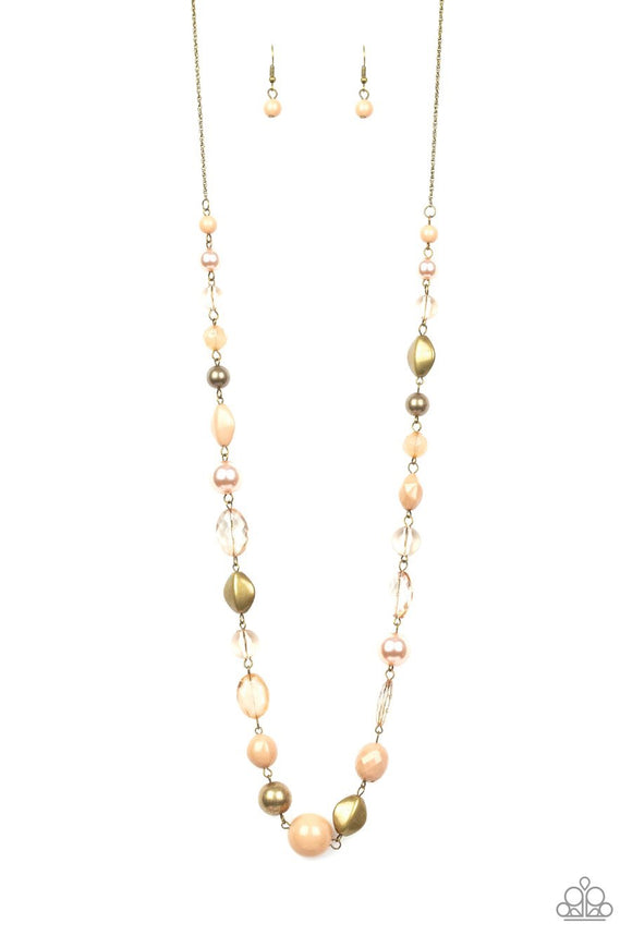 Paparazzi Secret Treasure - Brown - Pearly and Glassy Beads - Necklace and matching Earrings