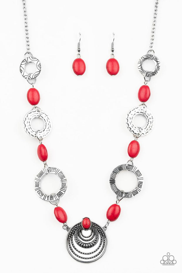 Paparazzi Zen Trend - Red Stones - Hammered, Stamped and Studded - Necklace and matching Earrings - Glitzygals5dollarbling Paparazzi Boutique