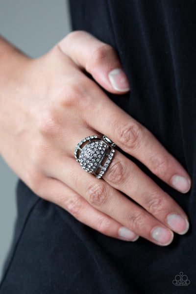 Paparazzi The Seven-FIGURE Itch - Black Gunmetal Ring - Glitzygals5dollarbling Paparazzi Boutique