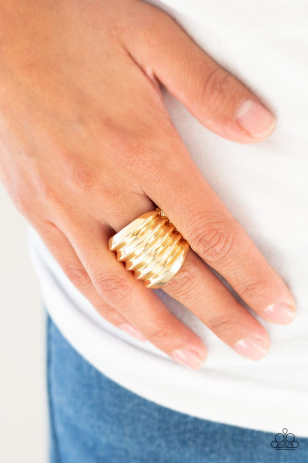 Hit Em Where It Hurts - gold - Paparazzi ring - Glitzygals5dollarbling Paparazzi Boutique