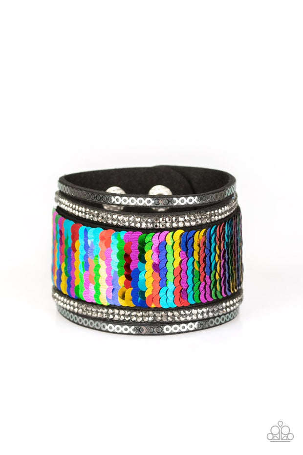 Paparazzi Heads Or MERMAID Tails - Multi / Silver Rhinestones - Sequin Wrap / Snap Bracelet - Glitzygals5dollarbling Paparazzi Boutique