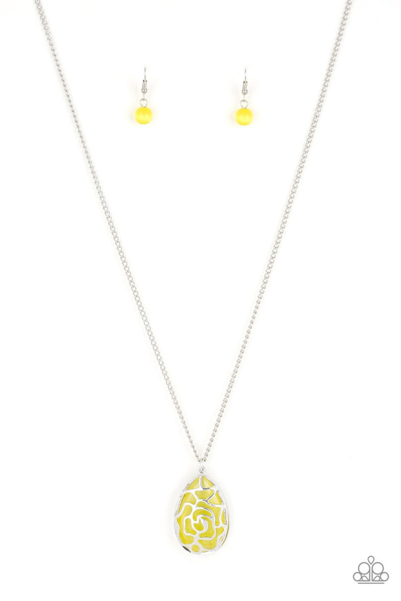 Paparazzi Gleaming Gardens - Yellow - Cat's Eye Stone - Necklace and matching Earrings