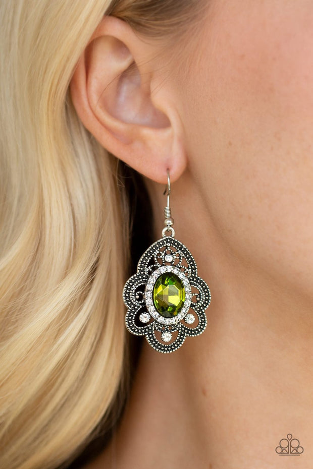 Paparazzi Reign Supreme - Green Rhinestones - Antiqued Silver Petals - Earrings - Glitzygals5dollarbling Paparazzi Boutique