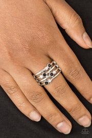 Paparazzi Sparkle Showdown - Black - White Rhinestones - Silver Ring - Glitzygals5dollarbling Paparazzi Boutique