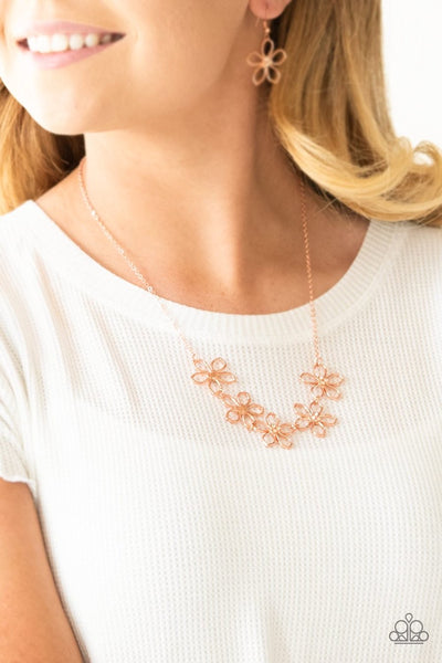 Hoppin Hibiscus - copper - Paparazzi necklace - Glitzygals5dollarbling Paparazzi Boutique