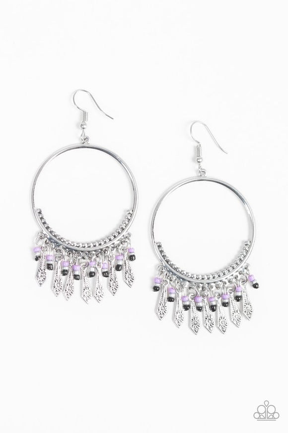 Paparazzi Floral Serenity - Purple Tassels - Silver Hoop Earrings