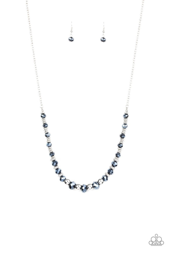 Paparazzi Stratosphere Sparkle - Blue - Textured Silver Accents - Necklace and matching Earrings