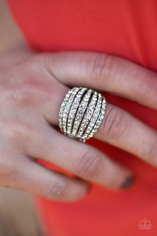 Blinding Brilliance White Ring Blockbuster - Glitzygals5dollarbling Paparazzi Boutique