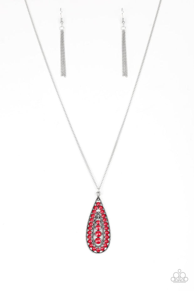 Paparazzi Tiki Tease - Red - Silver Teardrop - Necklace & Earrings - Glitzygals5dollarbling Paparazzi Boutique