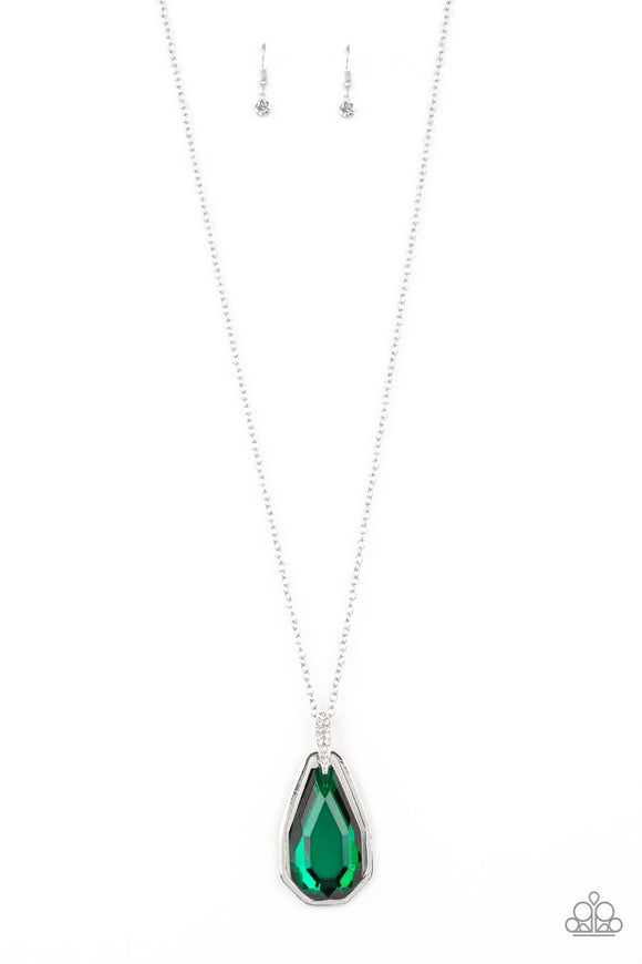 Paparazzi Maven Magic - Green Gem - White Rhinestones - Silver Necklace and matching Earrings