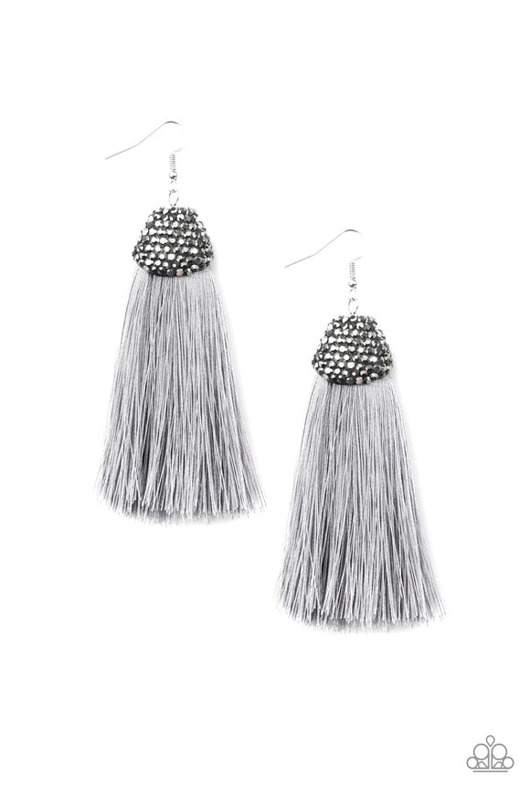 Paparazzi Razzle Riot - Silver / Gray Thread / Fringe / Tassel - Rhinestones - Earrings