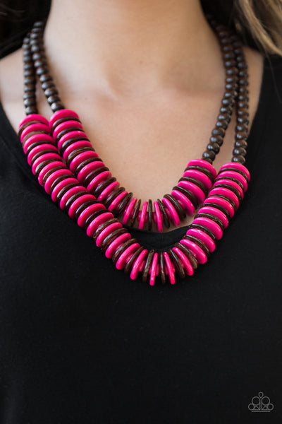Paparazzi Dominican Disco - Pink Wooden Necklace
