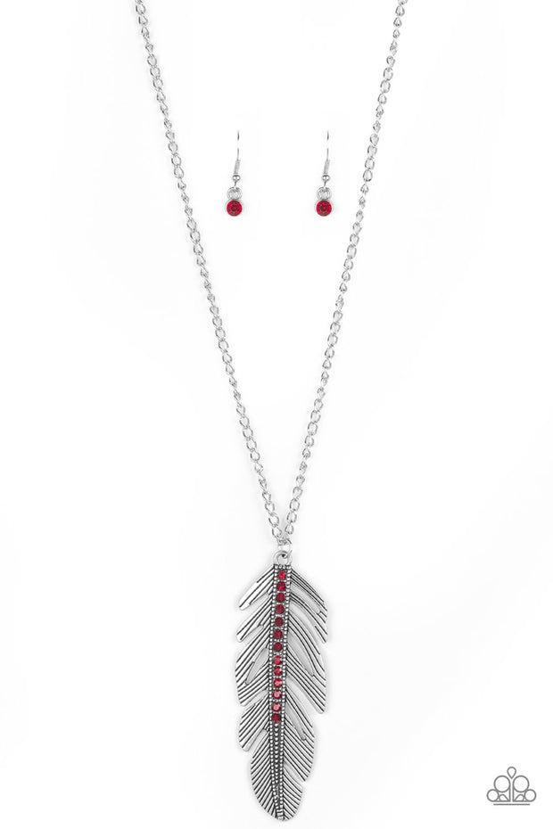 Sky Quest Red Feather Necklace - Glitzygals5dollarbling Paparazzi Boutique