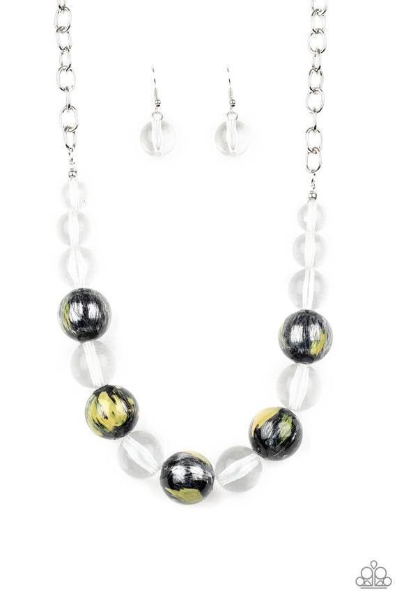 Paparazzi Torrid Tide - Yellow - Shiny Black and Glassy Clear Beads - Necklace and matching Earrings